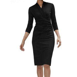 new Black Wrap Long Sleeves Knee Length Dress S